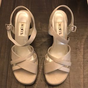 Mixit silver shimmer platform heels